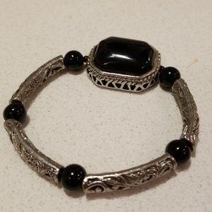 Silver & Black bracelet, like Brighton or Yurman